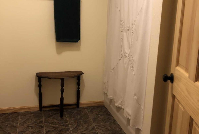 MN resorts for sale Kimp's Kamp owner's home bathroom