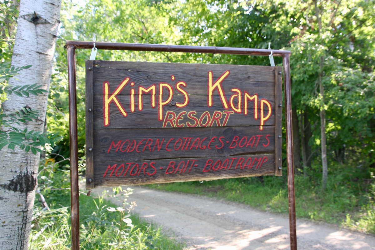 MN resorts for sale Kimp's Kamp entrance sign